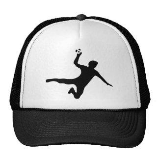 black handball player logo trucker hat