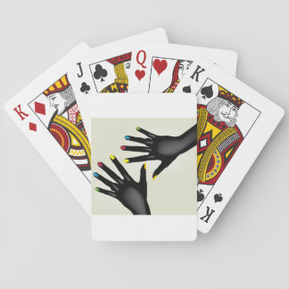 Black Hands With Painted Nails Playing Cards