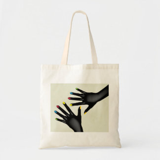 Black Hands With Painted Nails Tote Bag