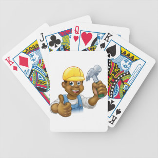 Black Handyman Cartoon Character Bicycle Playing Cards