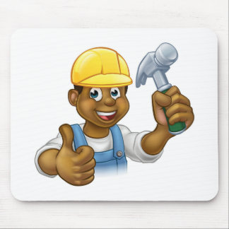 Black Handyman Cartoon Character Mouse Pad