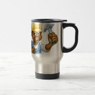 Black Handyman Cartoon Character Travel Mug