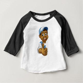 Black Handyman Peeking Sign Thumbs Up Baby T-Shirt
