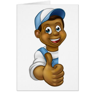 Black Handyman Peeking Sign Thumbs Up Card