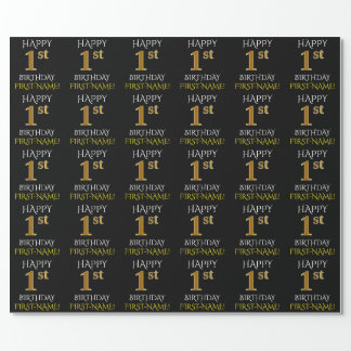 "Black, ""HAPPY 1st BIRTHDAY"" Wrapping Paper"