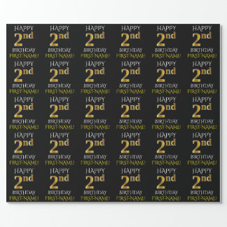 "Black, ""HAPPY 2nd BIRTHDAY"" Wrapping Paper"