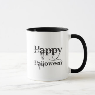 Black Happy Halloween Gothic Typography Mug