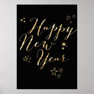 Black Happy New Year Gold Sign Print 20x28