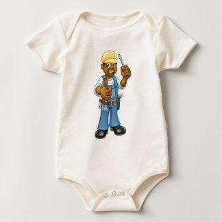 Black Hard Hat Electrician Screwdriver Baby Bodysuit