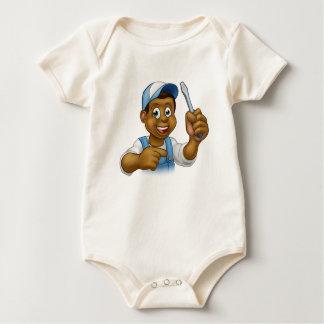 Black Hard Hat Handyman Screwdriver Baby Bodysuit