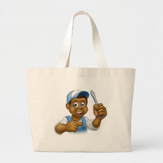 Black Hard Hat Handyman Screwdriver Large Tote Bag