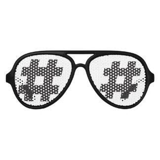 # - black hashtag  or number sign aviator sunglasses