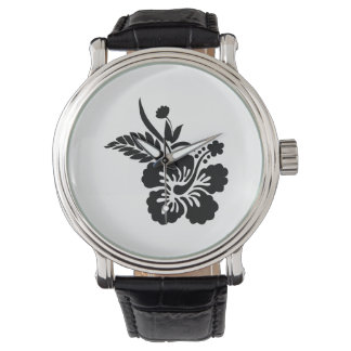 Black Hawaiian Flowers Watch