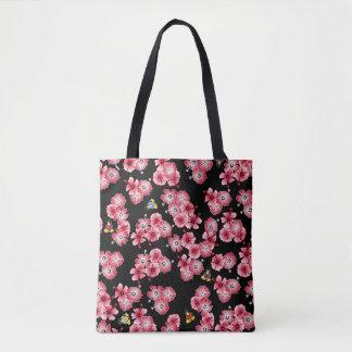 Black Hawaiian Multi1 Penguins Fabric Tote Bag