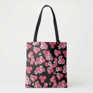 Black Hawaiian Multi2 Penguins Fabric Tote Bag