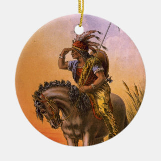 Black Hawk Native American Indian Ceramic Ornament
