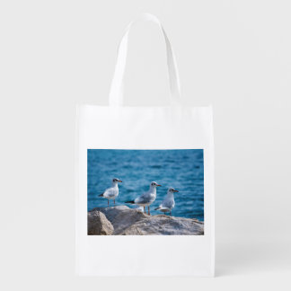 Black-headed gulls, chroicocephalus ridibundus reusable grocery bag