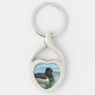 Black Headed Ring-necked sea diving duck Ringbill Silver-Colored Twisted Heart Keychain