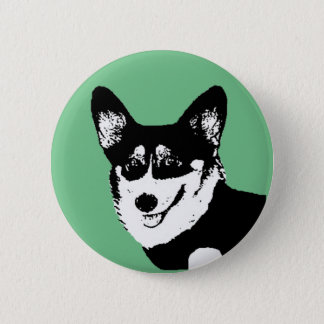 Black Headed Tricolor Welsh Corgi 2 Inch Round Button