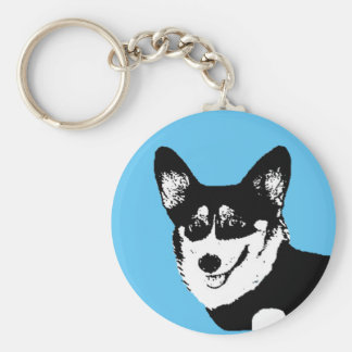 Black Headed Tricolor Welsh Corgi Basic Round Button Keychain