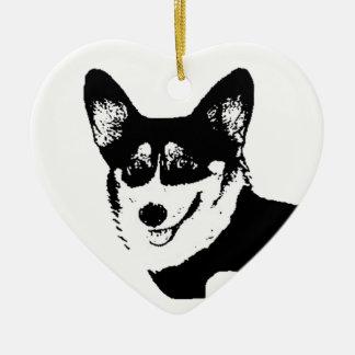 Black Headed Tricolor Welsh Corgi Ceramic Heart Ornament