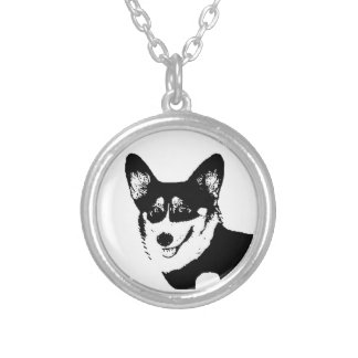Black Headed Tricolor Welsh Corgi Silver Plated Necklace
