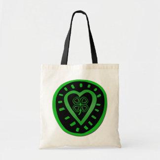 Black Heart Clover St Patrick Tote Bag