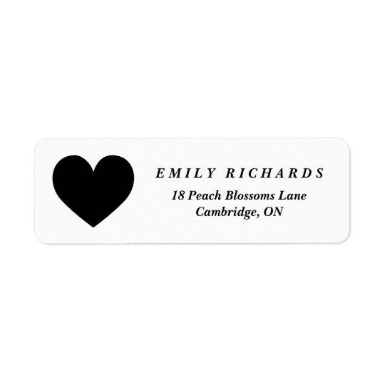 Black Heart Minimalist Address Label