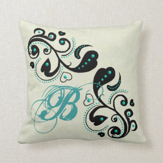 Black Heart Scroll & Turquoise Beading Pillows