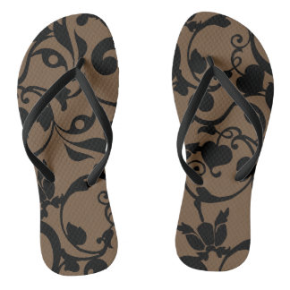 Black Heart Swirl Adult, Slim Straps Flip Flops