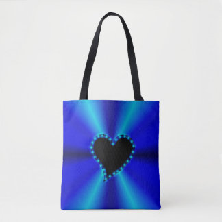 Black Heart with Stars on blue geen Rainbow Tote Bag