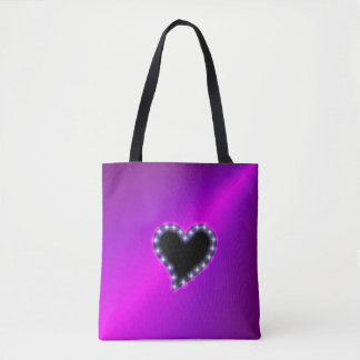 Black Heart with Stars on Pink Rainbow Tote Bag