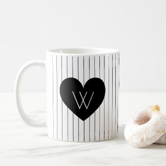 Black Heart with Vertical Stripes Pattern Monogram Coffee Mug