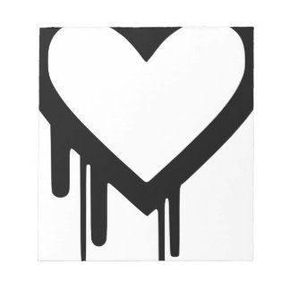 Black Heartbleed Dripping heart Notepad