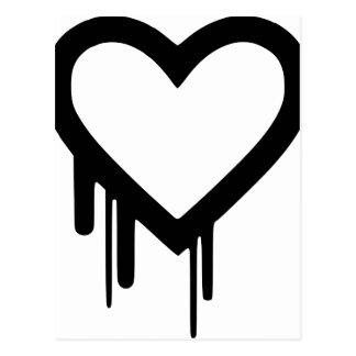 Black Heartbleed Dripping heart Postcard