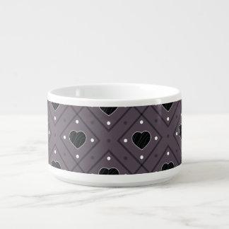 Black Hearts And Dots Plaid Pattern Bowl