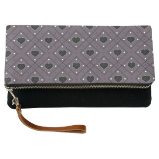 Black Hearts And Dots Plaid Pattern Clutch