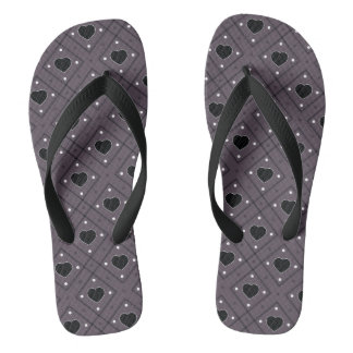 Black Hearts And Dots Plaid Pattern Flip Flops