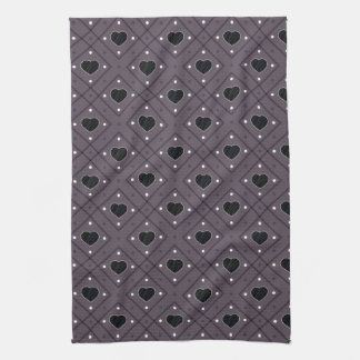 Black Hearts And Dots Plaid Pattern Kitchen Towel