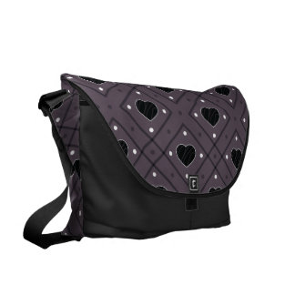 Black Hearts And Dots Plaid Pattern Messenger Bag