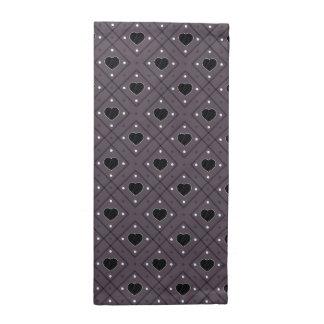 Black Hearts And Dots Plaid Pattern Napkin