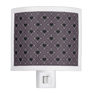 Black Hearts And Dots Plaid Pattern Nite Light