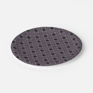Black Hearts And Dots Plaid Pattern Paper Plate