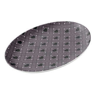 Black Hearts And Dots Plaid Pattern Porcelain Serving Platter
