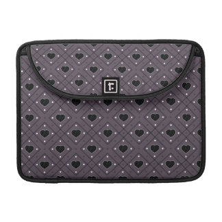 Black Hearts And Dots Plaid Pattern Sleeve For MacBook Pro