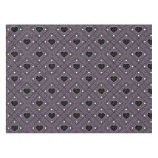 Black Hearts And Dots Plaid Pattern Tablecloth