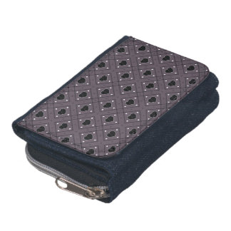 Black Hearts And Dots Plaid Pattern Wallet