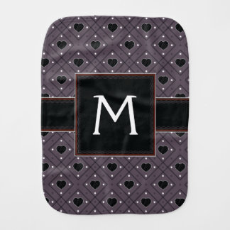Black Hearts And Dots Plaid Pattern With Initial Burp Cloth