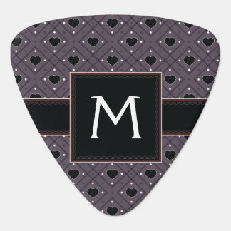 Black Hearts And Dots Plaid Pattern With Initial Guitar Pick