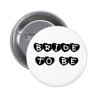 Black Hearts Bride to Be Buttons